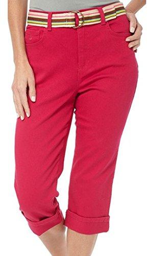 Gloria Vanderbilt Amanda Classic Fit Belted Cuffed Capri Jeans (Fiesta Pink, - Cuffed Twill Capri