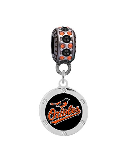 Baltimore Orioles Round Crystal Charm
