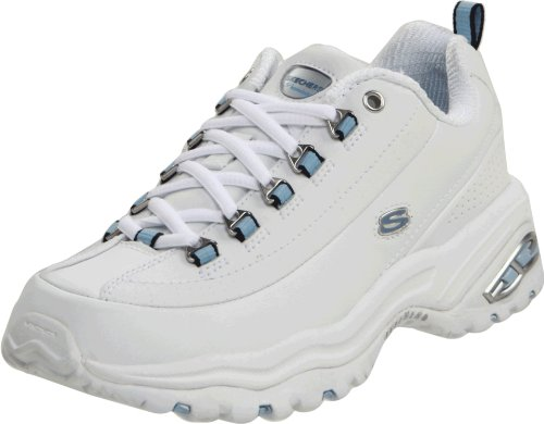 Skechers Sport Women's Premiums Sneaker, White/Blue, 6.5 M US