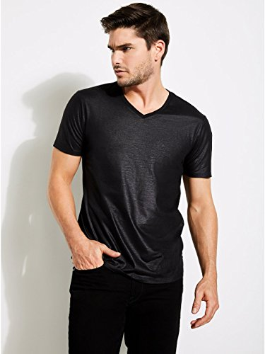 Guess Men's Short Sleeve Mason Yoke V Neck Tee, Jet Black a, L