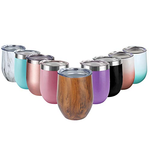 (12 oz Stemless Wine Glass Tumbler with Lid,Double Wall Vacuum Insulation Stainless Steel Travel Tumbler Cup for Keeping Wine,Coffee Drinks,Champagne,Cocktails (Wood Grain))