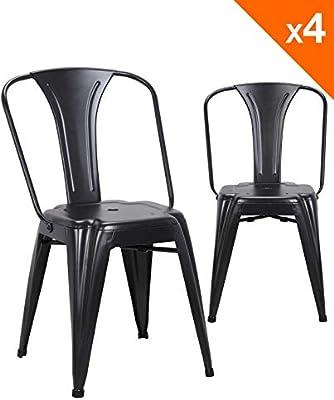 Kayelles Brook Chaise Metal Industriel Lot de 4 chaises bistrot (Noir)