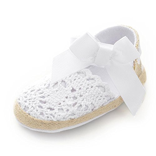 Itaar Baby Girls Shoes Crochet Knit Soft Sole Bow First Walker Toddler Sandals (6-12 Months, White) (Little Girl Walking)