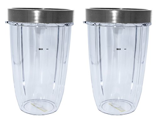 Blendin 2 Pack 24 Ounce Tall Cup with Lip Rings, Fits Nutribullet 600W 900W Blenders by BLENDIN