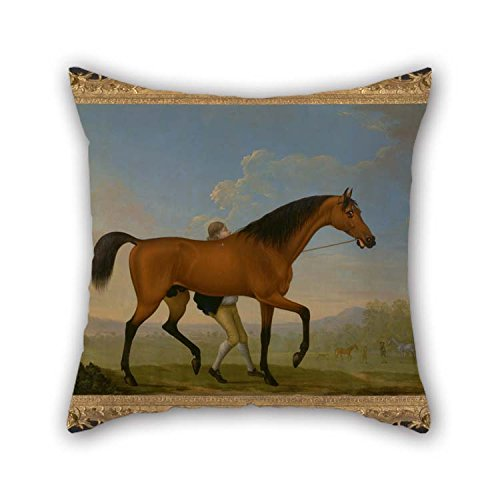 Duke Woven Jacquard - Oil Painting William Shaw - The Duke Of Ancaster's Bay Stallion, Blank, Walking Towards A Mare Pillowcase Best For Pub Play Room Bf Deck Chair Living Room Girls 18 X 18 Inches / 45 By 45 Cm(both S