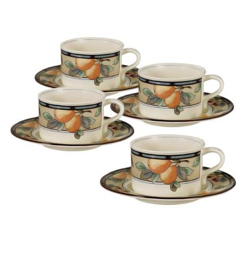 Set of 4 Mikasa Garden Harvest Teacups and Saucers ()