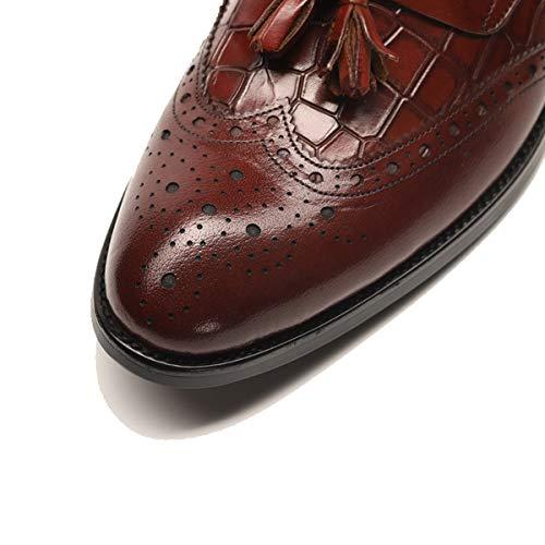 Casuales Shoe Alta Zapatos Negocios Colgante on Hombres Brown Borla La Trabajo Lymyy Cuero Gama Tallados Jóvenes De Formales Oficina Los Slip Brogues over Rqxa5cv1w