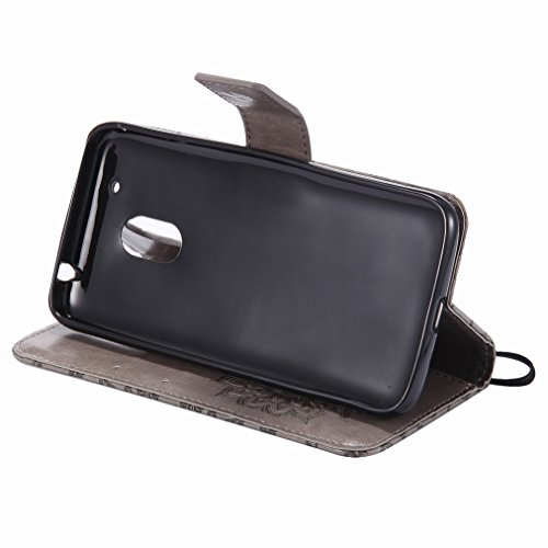 Yiizy Motorola Moto G4 Play Custodia Cover, Sole Petali Design Sottile Flip Portafoglio PU Pelle Cuoio Copertura Shell Case Slot Schede Cavalletto Stile Libro Bumper Protettivo Borsa (Grigio)