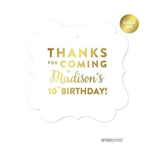 Andaz Press Personalized Fancy Frame Square Birthday Gift Tags, Metallic Gold Ink, Thanks for Coming to Madison's 10th Birthday Block Style, 24-Pack, Custom Made Name (Custom Block)