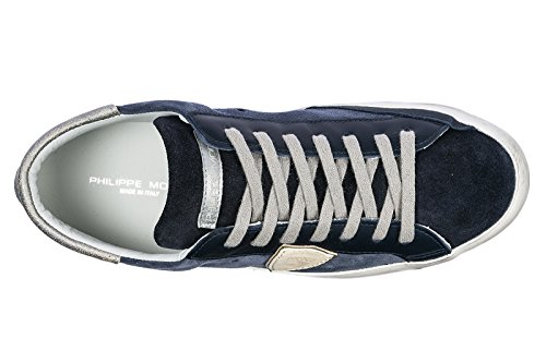 Philippe Model Chaussures Baskets Sneakers Homme en Daim Paris Blu