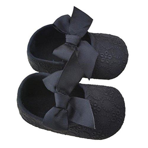 Zapatos de Bebé,Xinantime Algodón Bowknot Suave Prewalker Flor Niñas (17, Púrpura) Negro