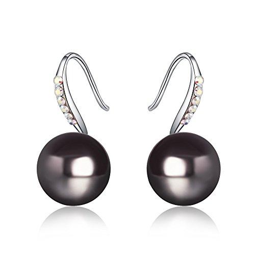 Österreichischen Kristall SWAROVSKI - 10mm Natürliche Schale Perle - Perle Haken Ohrringe Damen