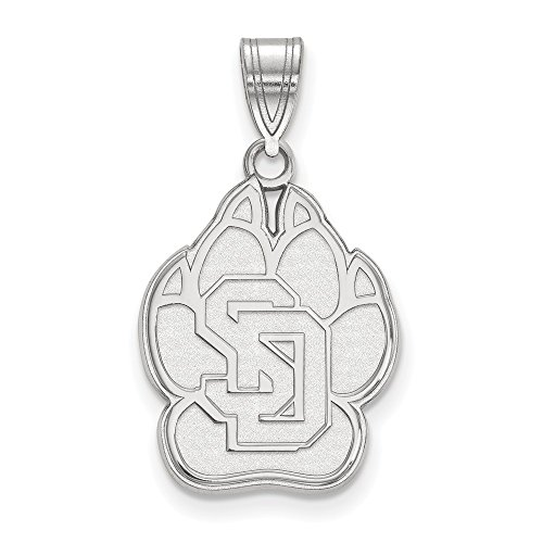 14k White Gold LogoArt Official Licensed Collegiate University of South Dakota (USD) Large Pendant by Logo Art