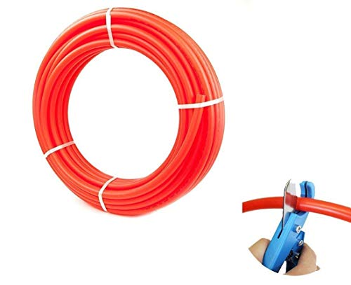 1/2-Inch PEX Tubing Red 100-Feet- Oxygen Barrier 100' FT Flexible Tubing - 100 Feet of Water Polyethylene Tube Pipes -O2 Barrier Flexible Flow Coil Pipe - PEX-B 1/2