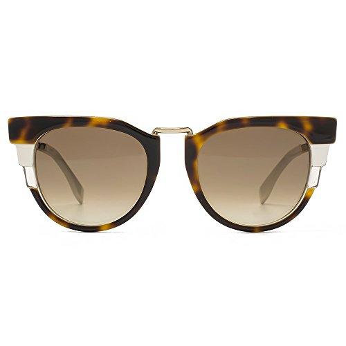 Fendi Art Deco Cateye Sunglasses in Havana Beige FF 0063/S MUV 50