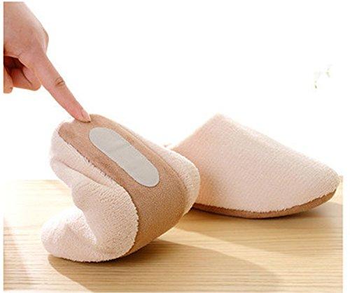Remeehi - Zapatillas de estar por casa de Terciopelo para mujer crema