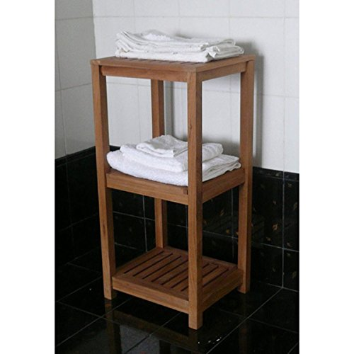 Spa Teak 3-tiered Tower, Tan Finish, 15.5 x 13.25 x 32 by Generic