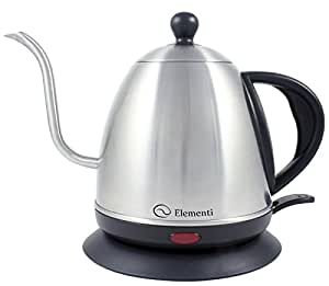 Elementi Premier Electric Gooseneck Kettle for Pour Over Coffee and Tea | 1.0 Liter Stainless Steel Drip Kettle Teapot