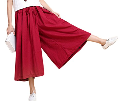 Cotton Cropped Pants (Soojun Women's Loose Fit Wide Leg Cotton Linen Cropped Palazzo Pants, 1 WineRed)