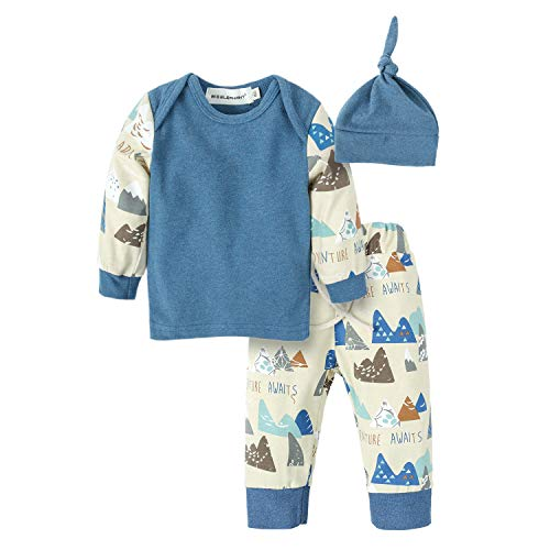 BIG ELEPHANT Baby Boys' 3 Pieces Cute Long Sleeve Tops Pants Clothing Set with Hat Multicolored H94A-70(3-6 Months