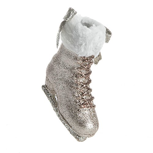 (Factory Direct Craft Set of 2 Platinum Glittered Hanging Ice Skate Ornaments for Tree Trim, Home Decor and Displays)