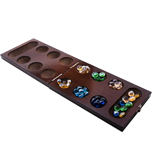 Mancala Board Game Set by GrowUpSmart with Dark Folding Wooden Board + Beautiful Multi Color Glass Beads - Smart tactical game for kids and adults - Easy to store Travel Size [Unfolds to 17.13 inches]