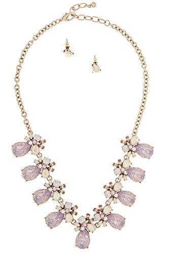 GlitZ Finery Crystal Accent Framed Stone Dangle Ornate Bib Necklace Set (Pink)