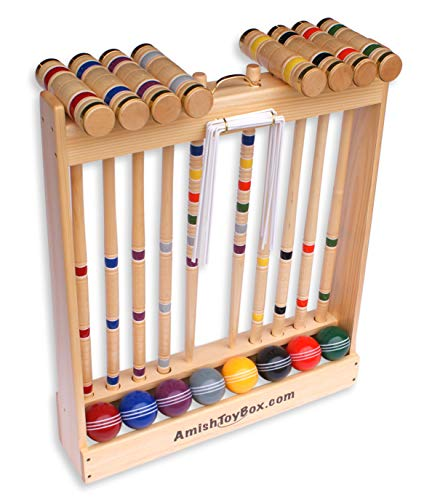 """Amish-Crafted Deluxe 8-Player Croquet Game Set, Maple Hardwood (Eight 32"""" Handles)"""