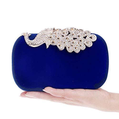 Crystal Diamonds per dimensioni Peacock Dinner Blu nero Bag Clutch borse 5x10x16cm Package le Yisaesa With colore donne 2x4x6inch Evening zwBXpzxq