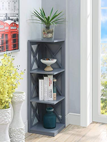 - Convenience Concepts Oxford 3-Tier Corner Bookcase, Gray