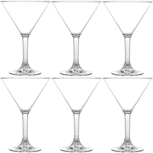 Andreams 6 Pack 9oz Martini Cocktail Glasses Set Clear Unbreakable Plastic Reusable