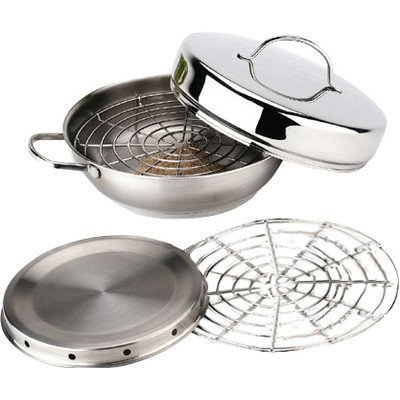 Resto 4 Piece 18/10 Stainless Steel Stovetop Smoker Set, Includes Frying Base, Smoking Chamber, Steaming Grid, Lid, Gas Grill Compatible from Zwilling JA Henckels