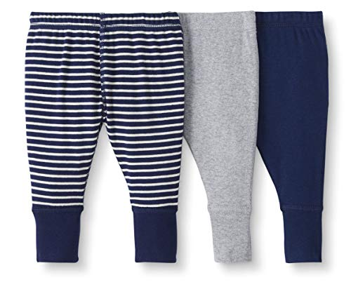 (Moon and Back by Hanna Andersson Baby/Toddler 3-Pack Organic Cotton Jogger, Navy, 0-3 months)