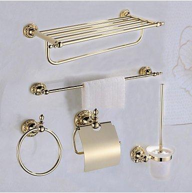 Conjunto De Accesorios De Baño Antique Brass 5Pcs - Baño De Baño WC Brush Holder Torre De La Torre Del Anillo De La Torre...