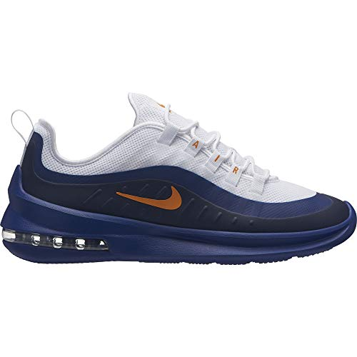 Nike Men's Air Max Axis Sneakers, White/Orange Peel-Deep Royal Blue (US 8.5)