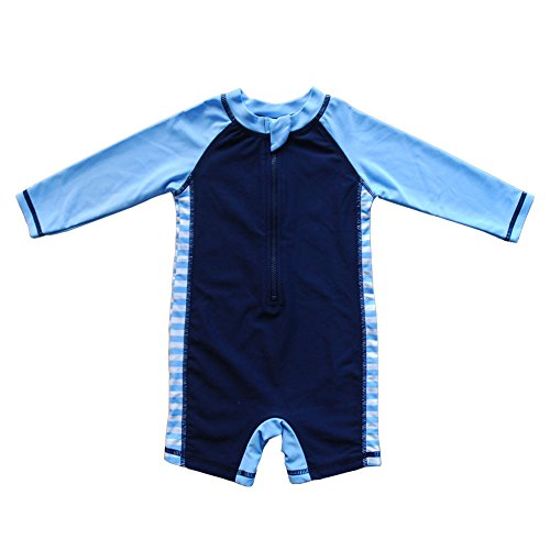 Baby Beach One-Piece Swimsuit UPF 50+ -Sun Protective Sunsuit Dark Blue,18 Months
