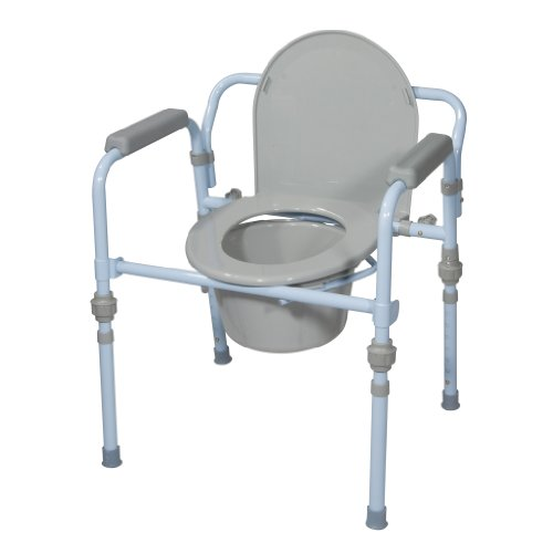 Drive Medical Folding Bedside Commode Seat with Commode Bucket and Splash Guard, Powder Blue