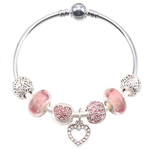 Silver Plated Love Heart Women Charm Bracelets Bead Fine Bracelets & Bangles A 17cm