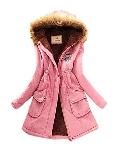 Gran tamaño Ocio Casual abrigo las mujeres de Pink 3XL