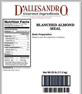 Blanced Almond Meal, 25 Lb Bag