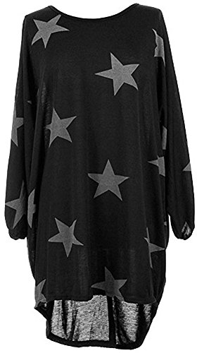 Black Women's Hem Dress Sleeve 4 PinupArt Star Drapey 3 Low High Print Oversized Rd8w7U