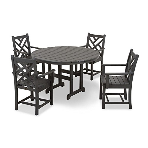 POLYWOOD PWS122-1-GY Chippendale 5-Piece Dining Set, Slate Grey