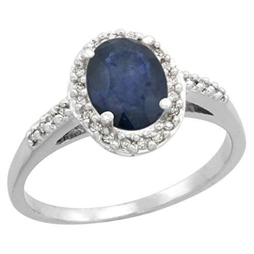 (14K White Gold Natural Diamond Blue Sapphire Ring Oval 8x6mm, size 10)
