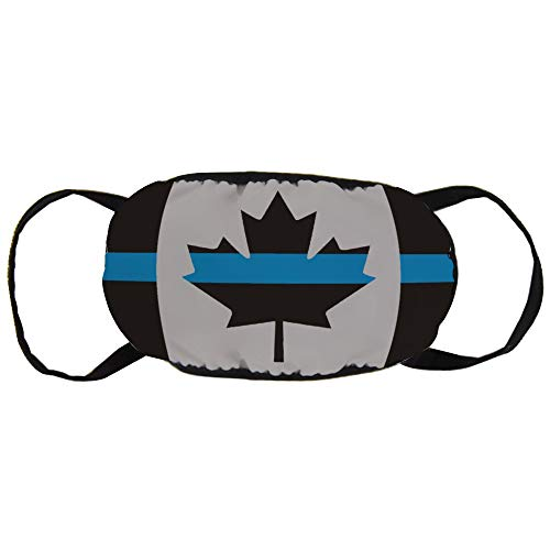 Best Halloween Masks Canada (Police Law Enforcement Thin Blue Line Canada Flag Fashion Mouth Mask Unisex Cotton Anti-Dust Face Mask Washable and Reusable Breathable for Cycling Camping Travel Halloween (2)