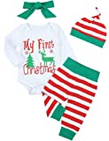 4Pcs My First Christmas Stripe Outfit Set Baby Boys Girls Cute Romper Clothes Set(3-6M/80)