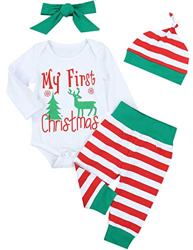 4Pcs My First Christmas Stripe Outfit Set Baby