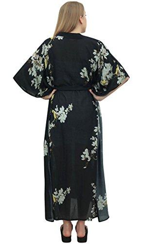 Maternidad Floral Kimono 48 Vestido Negro maxi Kaftan Bimba Manga Estampado C51nwx4Z