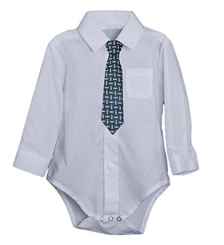 Little Things Mean A Lot Unisex Baby Poly Cotton Button up White Dress Shirt Bodysuit w/5COTIE BLUE-24M - Lot 2 Bodysuits