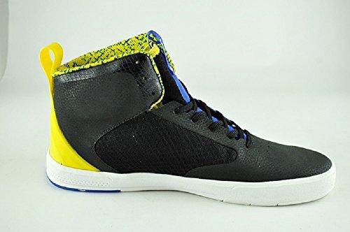 Sneakers Lxvi Mens Segmento Pitone Alte, Nero / Giallo, 12 M Us