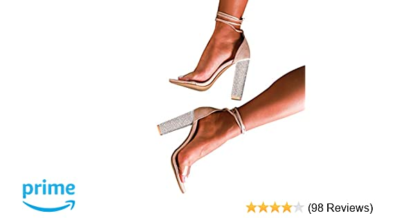 5b2ec1434947e6 LALA IKAI Women s Gold High Heels Sandals with Rhinestone Ankle Strappy  Clear Chunky Heels Dress Party Pumps Shoes